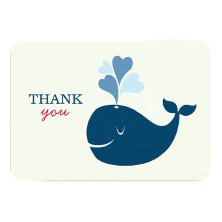 Flat Thank You Notes | Nautical Preppy Whales Card Custom Invites