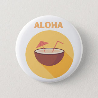 Flat Vector Coconut 2 Inch Round Button