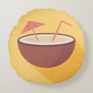 Flat Vector Coconut Round Pillow