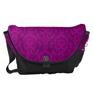 Flat Violet Damask Pattern Messenger Bags