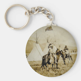 Flathead Indians Vintage Native American Warriors Basic Round Button Keychain