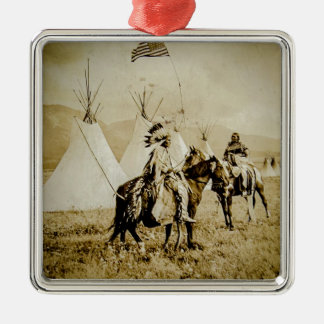 Flathead Indians Vintage Native American Warriors Silver-Colored Square Ornament