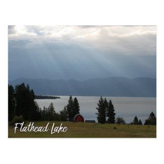 Flathead Lake Montana with Mountains Trees Barn Postcard
