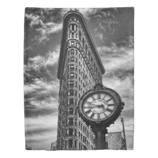 Flatiron Building and Clock in Black and White Duvet Cover