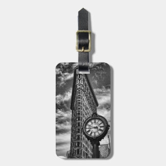 Flatiron Building and Clock in Black and White Luggage Tag