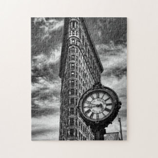 Flatiron Building and Clock in Black and White Puzzles