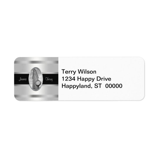 Flatiron Building BW 01  White Silver Return Address Label