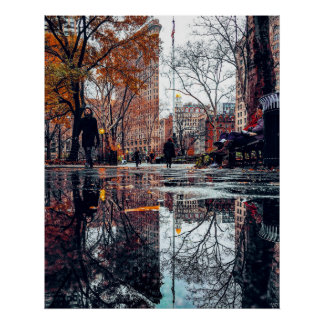 Flatiron Building Reflection Poster