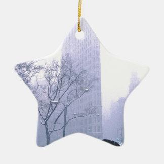 Flatiron Building Snow Storm NeW York Ceramic Star Ornament