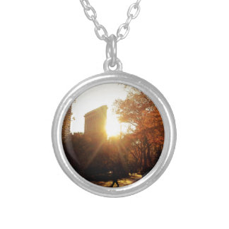 Flatiron Building Sunset in New York City Silver Plated Necklace