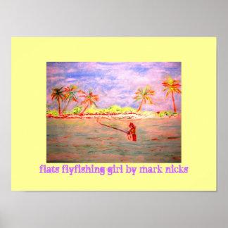 flats flyfishing girl poster