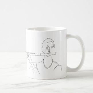 Flautist Line Drawing Coffee Mug with Music Quote