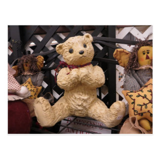 Flea Market Teddy Bear Display Postcard