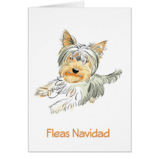 Fleas Navidad Cute Terrier Christmas Card