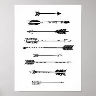 Flèches noires et blanches poster