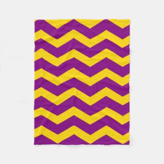 "Fleece Blanket 30""x40"" - Gold & Purple Zigzags"