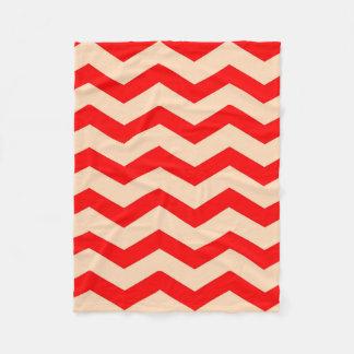 "Fleece Blanket 30""x40"" - Red Zigzags on PeachPuff"
