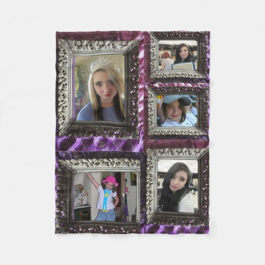Fleece Blanket 5 Silver Frame Photo Inserts