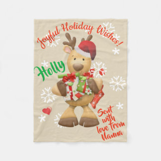 Fleece Blanket Cute Reindeer Personalized Names