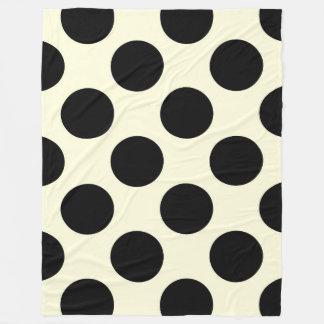 Fleece Blanket Large Circles Dots Black Cream