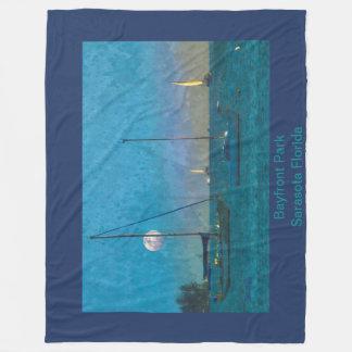 Fleece Blanket - Sarasota Bay Sunset and Sailboats
