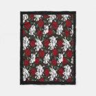Fleece Blanket/Skulls and Roses
