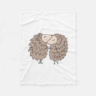 Fleece Blanket with Hedgehogs hugging