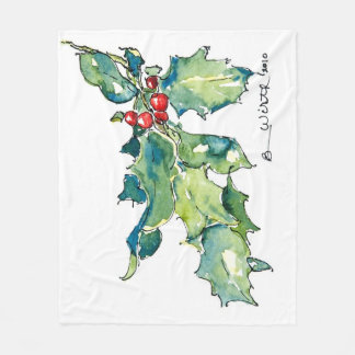 Fleece Blanket with Holly and Berries