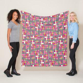 Fleece Blanket with Pink, Gray, and Yellow blocks