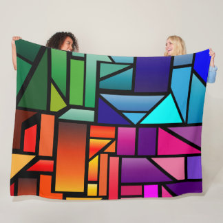 "Fleece Blanket with ""Stained Glass"" design"