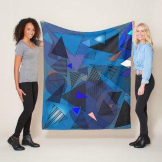 """Fleece Blanket with """"Triangles Denim"""" design"""