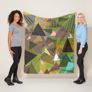 """Fleece Blanket with """"Triangles Foliage"""" design"""