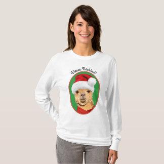 Fleece Navidad Cute Alpaca in Santa Hat Christmas T-Shirt