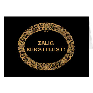 Flemish Christmas Wreath Card Gold-effect on Black