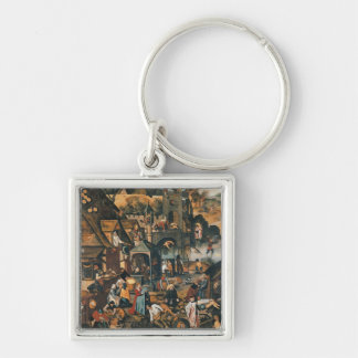 Flemish Proverbs Silver-Colored Square Keychain