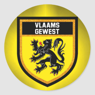 Flemish Region Flag Classic Round Sticker