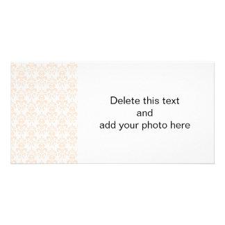 FLESH PINK GIRLY DAMASK PATTERN 2 CUSTOMIZED PHOTO CARD
