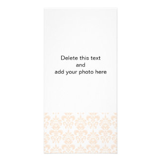FLESH PINK GIRLY DAMASK PATTERN 2 CUSTOM PHOTO CARD