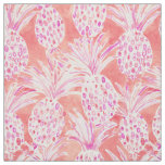 FLESHED OUT Pink Tropical Watercolor Pineapples Fabric