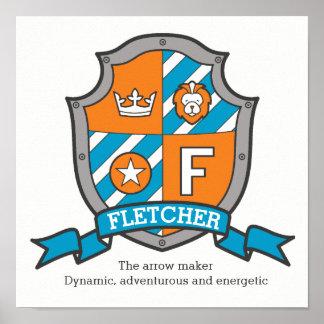 Fletcher boys F name meaning orange crest poster