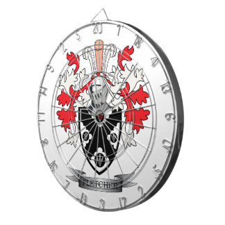 Fletcher Family Crest Coat of Arms Dartboard