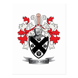 Fletcher Family Crest Coat of Arms Postcard