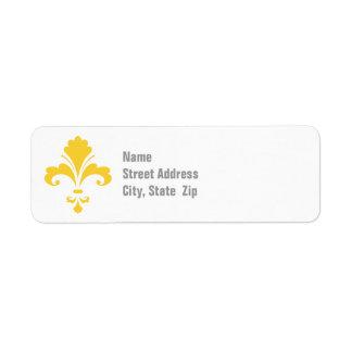 Fleur ambre jaune de lis étiquettes d'adresse retour
