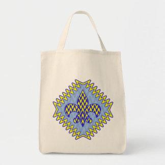 Fleur bleu et jaune de lis sac en toile épicerie