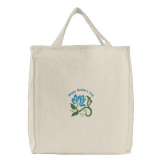 Fleur bleue Fourre-tout brodé personnalisable de r Sac