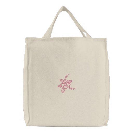 Fleur brodée par couleur simple sac en toile