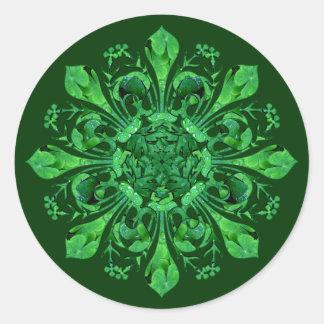 Fleur chanceux de lis de St Patrick Sticker Rond