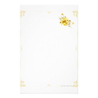 Fleur d or stationnaire papier à lettre personnalisé