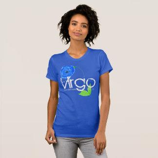 Fleur de bleu de T-shirt et de saphir d'horoscope