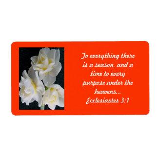Fleur de Jonquil - 3:1 d'Ecclesiastes Étiquette D'expédition